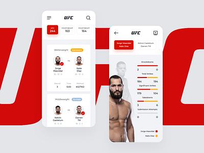 UFC App (Concept) statistics records mma box round diaz fight app uidesign uiux ui