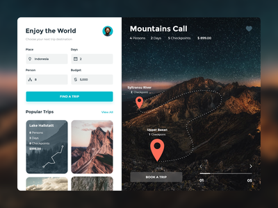 Traveling Service travel app book mapping list popular ui search map nature mountain traveling travel