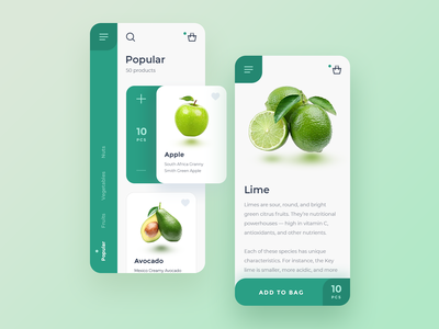 Fruits Market flat shadow ui icon clean android ios app info vegetables popular bag lime avocado apple fruits