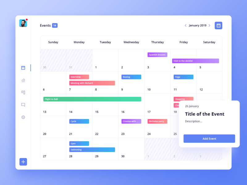 Events Manager - Dashboard light time dashboard event manager date calendar ui clean ios icon flat app