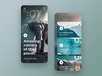 Nature Landing Page (Concept Mobile) navigation concept elephant ui search list mountain planet video ios app ios nature