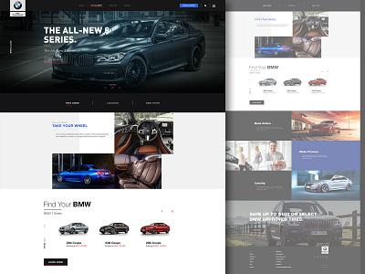 BMW Car Showroom UI Design landing page dealer car layoutdesign webdesign ui design