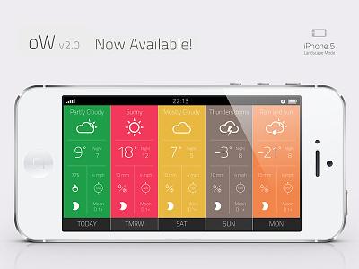 "Weather App ""Outside the window"" Landscape Mode appstore ui apple ow app weather itunes forecast landscape flat"