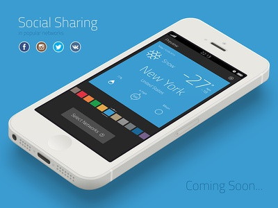 Social sharing in popular networks (Coming Soon...) flat app apple appstore design ow application weather oweather forecast social share sharing facebook twitter instagram vkontakte colors color coloristica ui itunes available