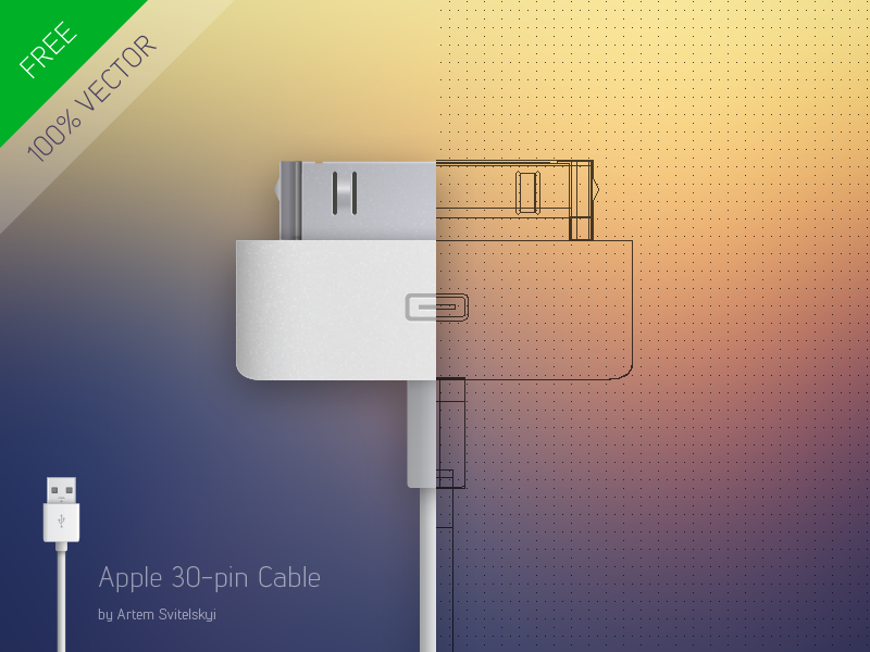 Phone Stick / Design Apple 30-pin to USB Cable apple download iphone vector psd free ai phonestick source desigb cable illustrator