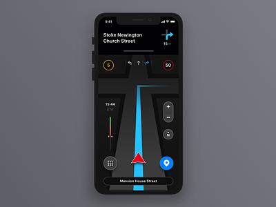 Navigation App Concept free appstore ai ui design apple application go maps map car drive iphone concept mobile app navigation