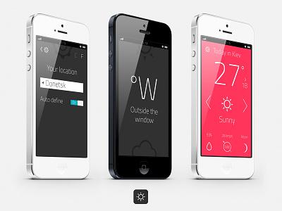 "Weather App ""Outside the window"" forecast prognosis fahrenheit autumn centigrade weather winter summer"
