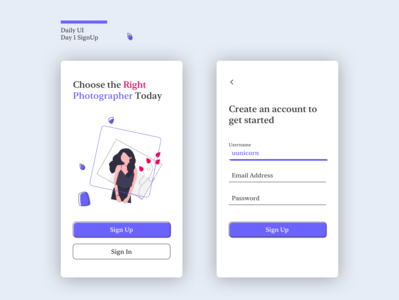 day1 signup app daily 100 challenge dailyui design ui