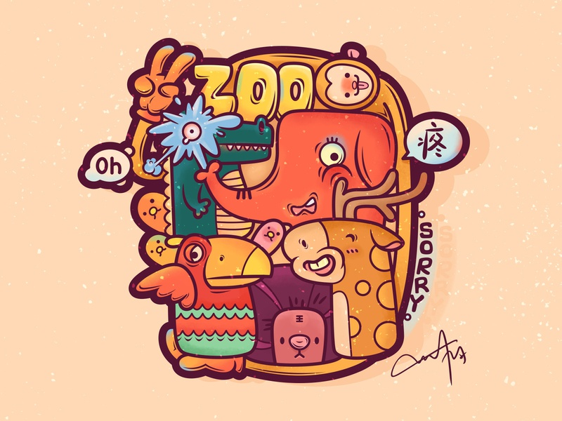 Zoo illustration drawing design