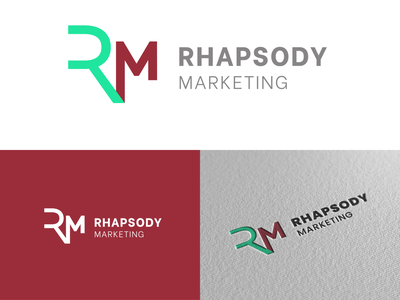 Rhapsody Marketing Logo marketing agency bourbon rm mark marketing elegant vector logo branding design graphic