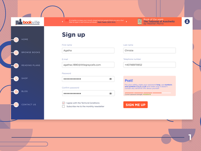 DUI #1 - Sign Up Page logo design ui design books signup ui