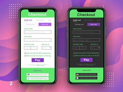 DUI #2 - Card Checkout light mode dark mode phone iphone product design app ux ui checkout card graphic design