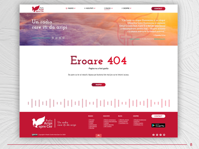 DUI #8 - Error 404 Screen site website web landingpage clouds sky clean magenta red daily ui 008 dailyui 404 error page 404 error 404 dove radio christian ui ux design