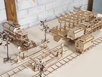 Ugears Railway Platform Model