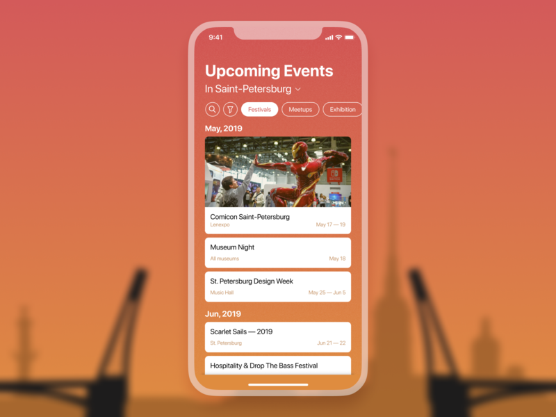 Weekly UI 2 Events List ios app ios iphone x iphone weekend browse discover events list event app events event dailyui 035 daily ui dailyui application apple app