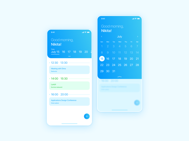 Weekly UI  6 Schedule events list button fab select android ios calendar app calendar schedule daily daily ui dailyui