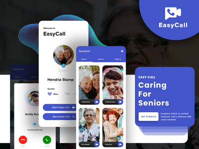 EasyCall for Seniors - Internet Calling App designer developer theme ux android calling app seniors colors art uidesign mobile app