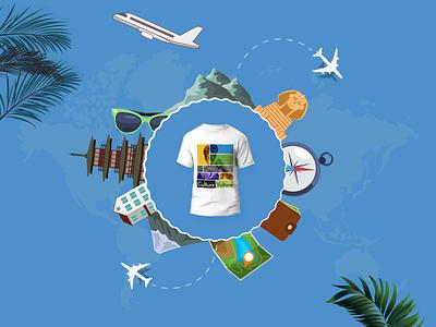 T-shirt Design - Travel Theme - Culture Vulture print customization theme travel vulture culture art design uiux ui graphic design illustration photoshop tshirt design