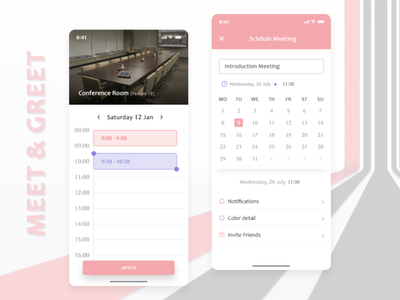 Schedule Meeting - Mockup pitch illustrator ux mobile ui designing appdevelopment mobileapp mobile conferences meeting app design art app design color app