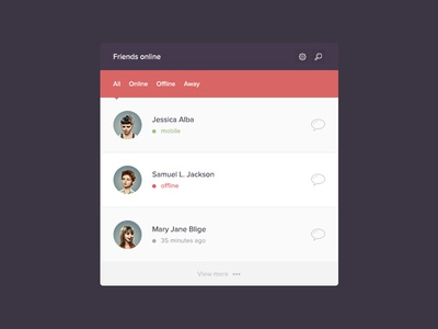 Friendlist Widget ux flat clean simple easy widget friendlist friends social ui