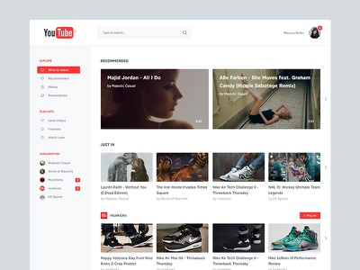 YouTube Redesign interface video google youtube redesign concept ui ux relaunch material design material