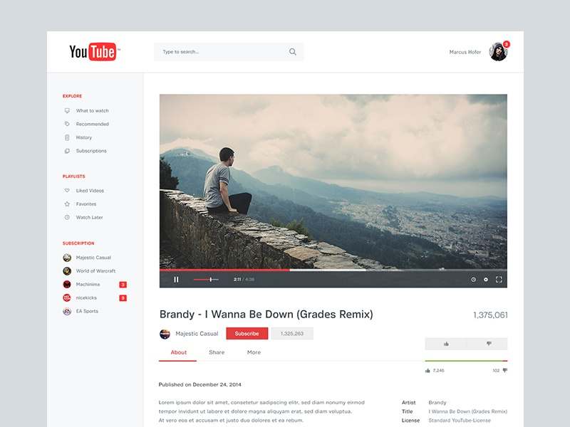 YouTube Redesign II design ui ux youtube google material concept redesign relaunch clean simple minimal