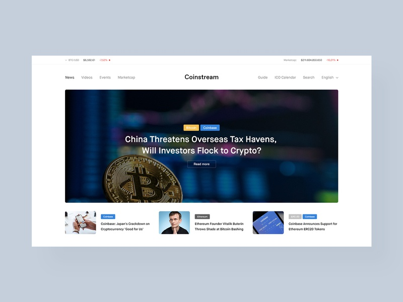 Coinstream Layout webdesign ethereum bitcoin coinbase crypto