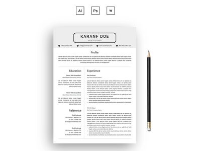 Karanf Doe Clean Resume Template job seekers bankers resume resume mac pages student resume professional resume modern resume infographic resume word resume creative resume clean resume cv resume