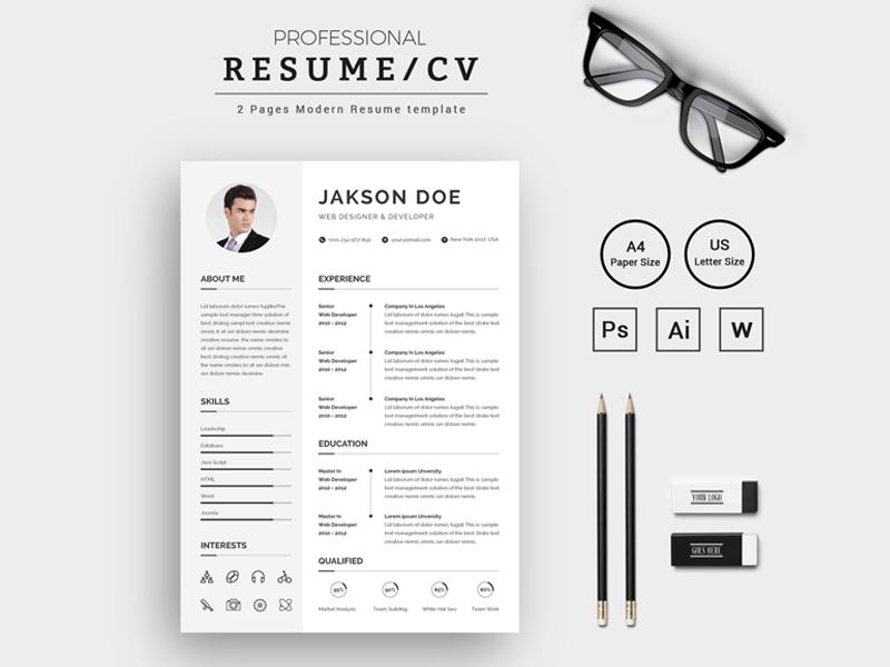 Jakson Doe Web Designer Developer Cv Resume Template By Thestyle