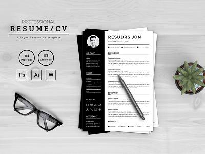 Resudrs Jon Designer & Developer Resume Template job seekers doctors resume bankers resume manager cv template resume mac pages student resume professional resume modern resume infographic resume word resume creative resume clean resume cv resume