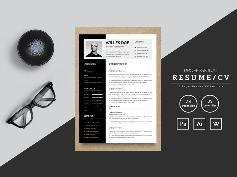 willes doe designer developer resume template by thestyle