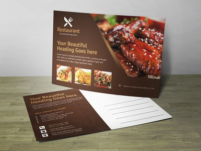 Restaurant Post Card Corporate Identity Template