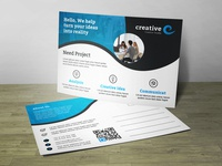 Creative Wave Post Card Corporate Identity Template