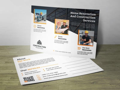 Corporate Construction Post Card Corporate Identity Template