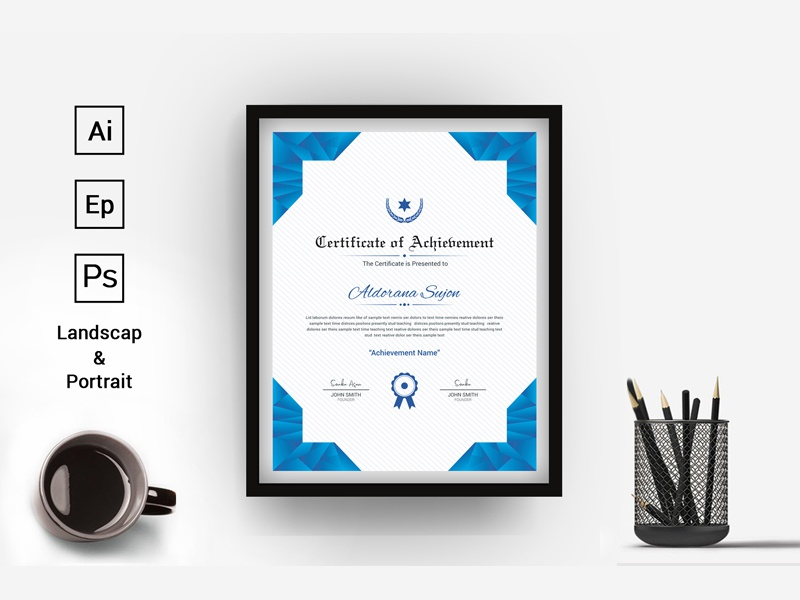 Modern Clean Award Certificate Template By Thestyle Dribbble