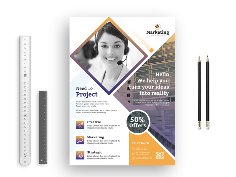 Square Marketing Business Flyer technology studio stationery simple professional print play photo official multimedia modern logo internet id kit id hi-quality green graphic graph corporate