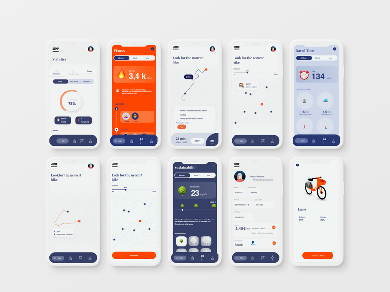 Future concept for JUMP bikes by UBER augmentedreality app interface navigation uber jump bikes mobility ui ux