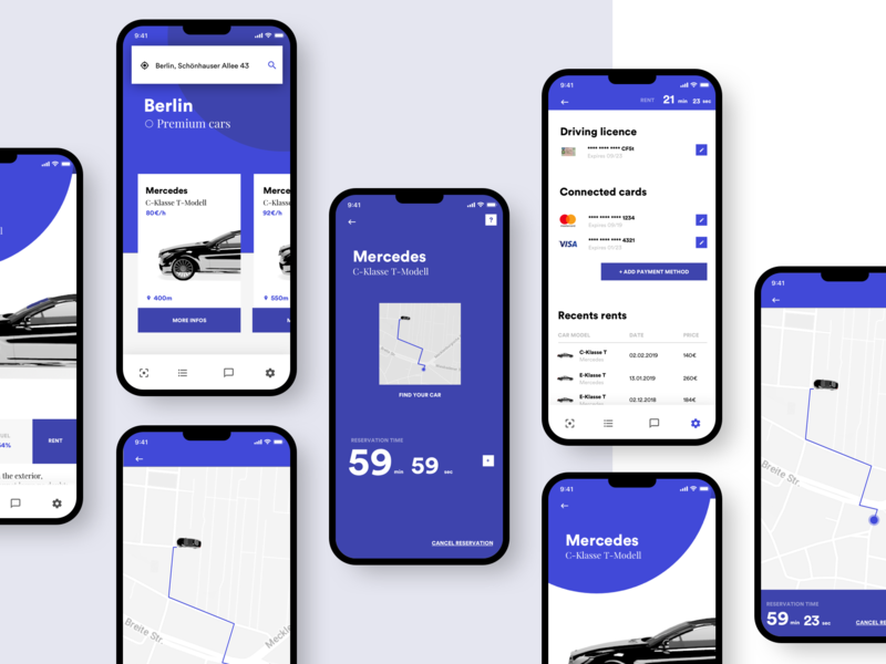 Concept Car Rental App 🚙 design app minimal concept interface ui  ux design adobexduikit iphone payment map adobexd adobe rental rent car cinema app cinema4d