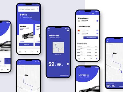 Concept Car Rental App 🚙 design app minimal concept interface ui  ux design adobexduikit iphone payment map adobexd adobe rental rent car cinema app cinema4d