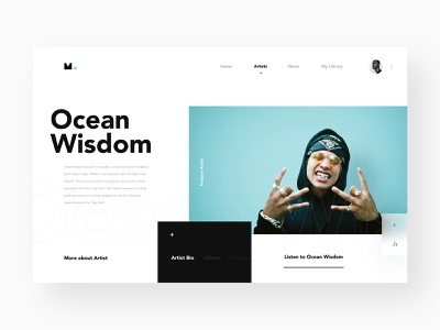 MUZI _ Featured Artist artist hiphop ui  ux music library website music app music ux logo design ui