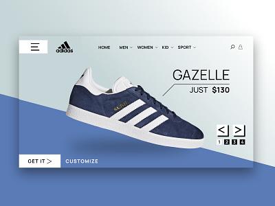 Adidas Gazelle pro elementor wordpress graphic design web shop ui ux website landing page shoes gazelle adidas