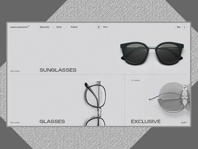 Gentle Monster minimal motion white interaction glasses web ux ui animation