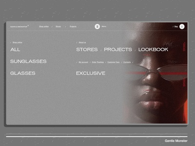Gentle Monster minimal motion black interaction glasses web ux ui animation