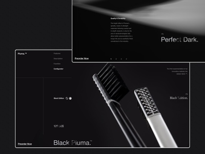 Piuma. typography dark store product black web ux ui minimal