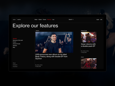 Features.Last FM. music website design typography black interaction web ui ux minimal