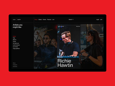 Artists team music website design typography black web ui ux minimal