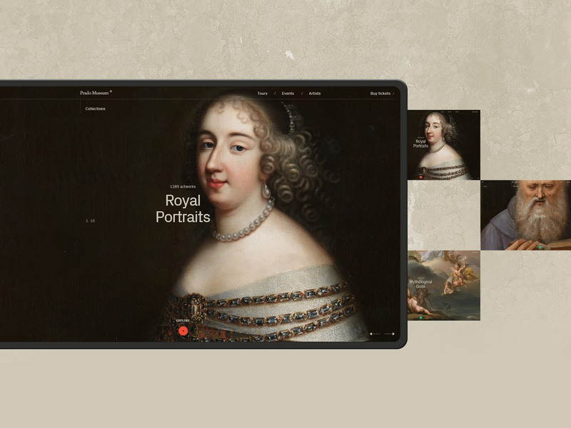 Prado Museum. museum minimal art promo design white website grey typography black web ui ux minimal