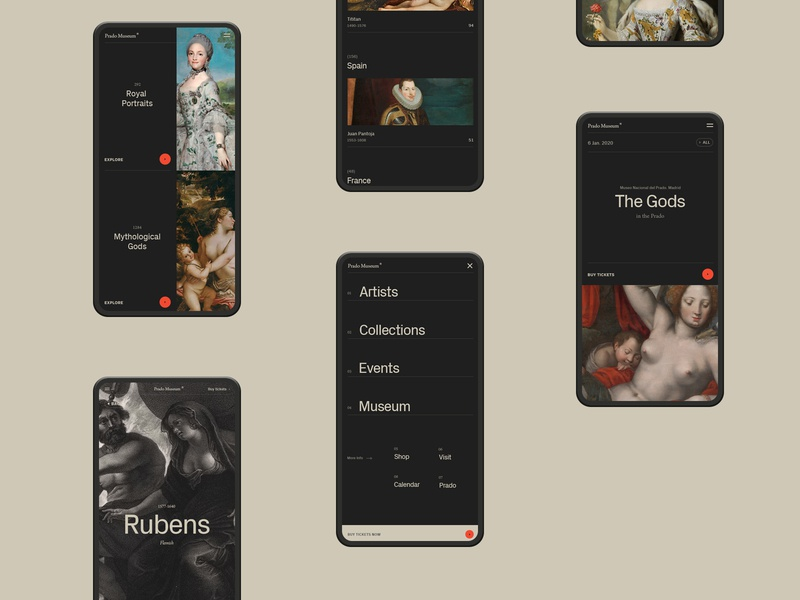 Prado Museum. art layer-art typography layouts grid simple black mobile app ux ui minimal