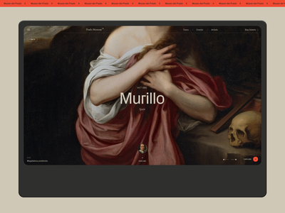 Museo del Prado. museum of art museum 2019 laptop desktop art website typography interaction black web ux ui minimal