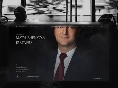 Matyushenko & Partners. desktop website design motion animation black interaction typography web ux ui minimal